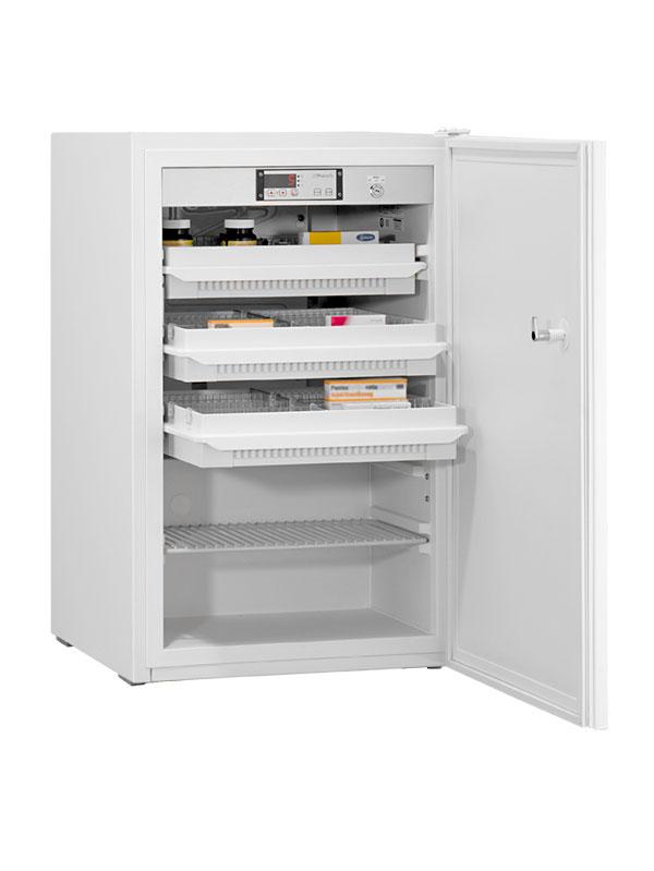 Medikamentenkühlschrank MED-85 DIN von Kirsch mit offener Standardtüre und Ansicht von der Seite