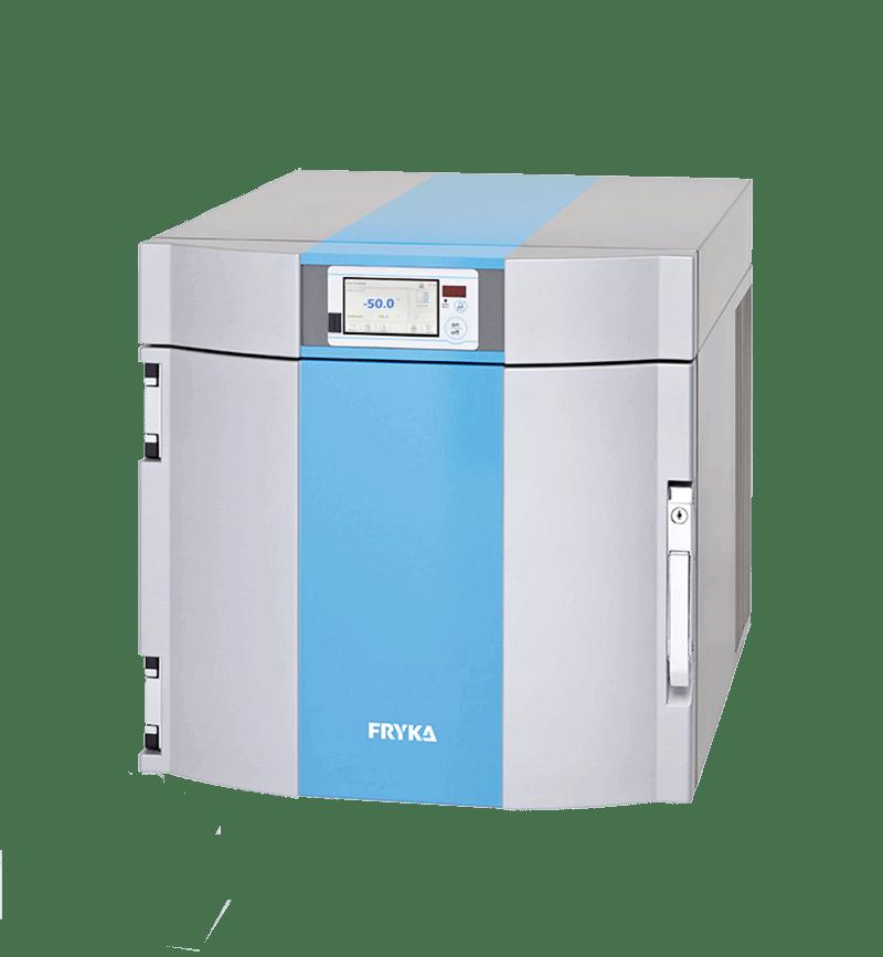 Labor/Industrie Tiefkühlbox B 35-50 logg von FRYKA mit geöffneter Standardtür und Ansicht von der Seite