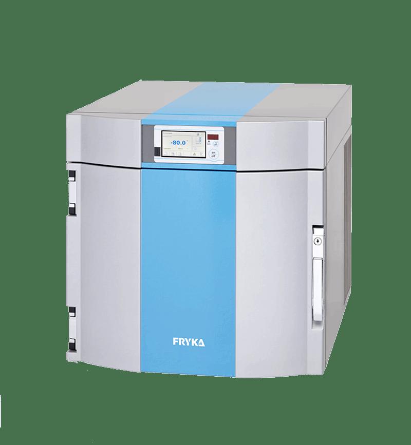 Labor/Industrie Ultrafiefkühlbox B 35-85 logg von FRYKA mit geöffneter Standardtür und Ansicht von der Seite