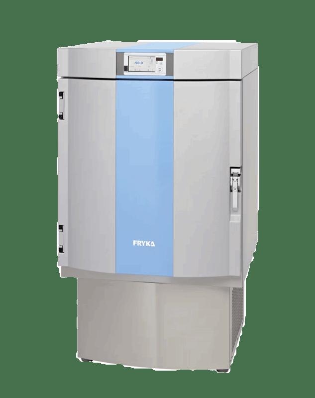 Labor / Industrie Tiefkühlschrank TS 50-100 logg von FRYKA mit geschlossener Standardtüre und Ansicht von der Seite
