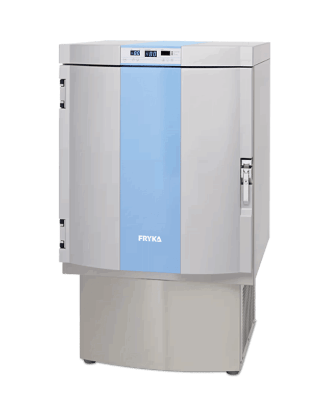 Labor / Industrie Ultratiefkühlschrank TS 80-100 von FRYKA mit geschlossener Standardtüre und Ansicht von der Seite