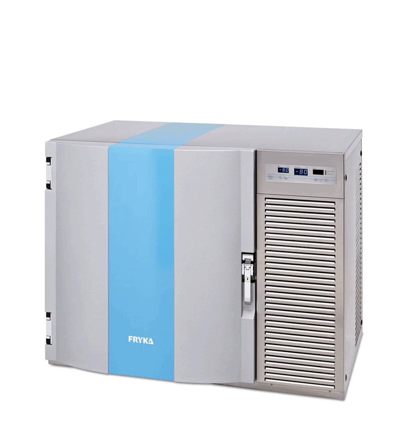 Labor/Industrie Ultratiefkühl-Unterbauschrank TUS 80-100 von FRYKA mit geschlossener Standardtür und Ansicht von der Seite