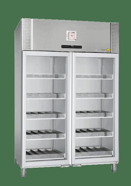 Blutkonservenkühlschrank BioBlood BR1270 DIN in Edelstahlausführung von Gram mit geschlossener Glastür und Ansicht von der Seite