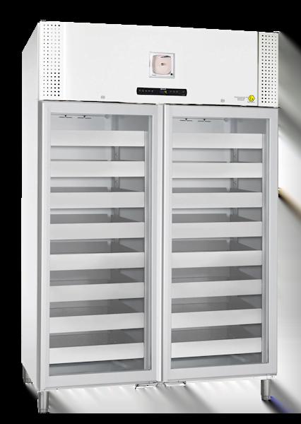 Weißer Blutkonservenkühlschrank BioBlood BR1400 DIN von Gram mit geschlossener Glastür und Ansicht von der Seite