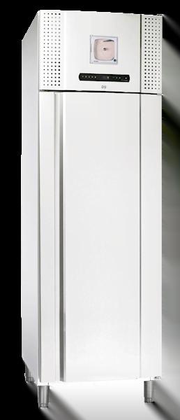 Weißer Blutkonservenkühlschrank BioBlood BR 600 D DIn von Gram mit geschlossener Glastüre und Ansicht von der Seite
