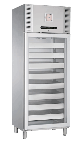 Blutkonservenkühlschrank BioBlood BR 600 W DIN in Edelstahlausführung von Gram mit geschlossener Glastür und Ansicht von der Seite