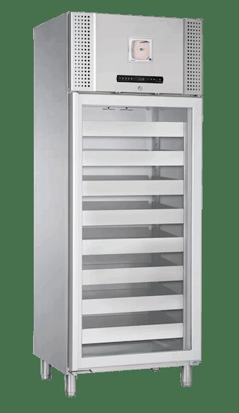 Blutkonservenkühlschrank BioBlood BR 660 W DIN in Edelstahlausführung von Gram mit geschlossener Glastür und Ansicht von der Seite