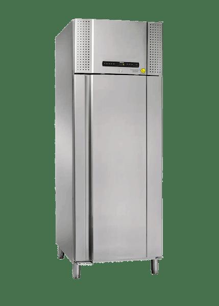 Blutkonservenkühlschrank BioBlood BR930 DIN in Edelstahlausführung von Gram mit geschlossener Standardtür und Ansicht von der Seite