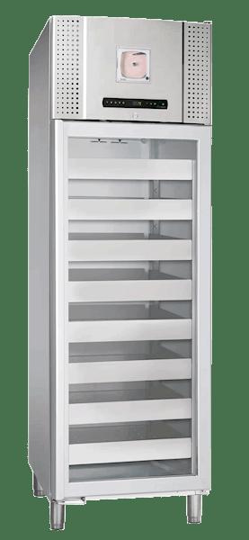 Blutkonservenkühlschrank BioBlood BR 660 D DIN in Edelstahlausführung von Gram mit geschlossener Glastür und Ansicht von der Seite