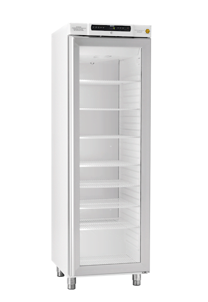 Explosionsgeschützter Laborkühlschrank BioCompact II RR410 DIN von Gram mit geschlossener Glastür und Ansicht von der Seite