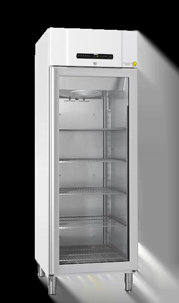 Explosionsgeschützter Laborkühlschrank BioCompact II RR610 DIN von Gram mit geschlossener Glastür und Ansicht von der Seite