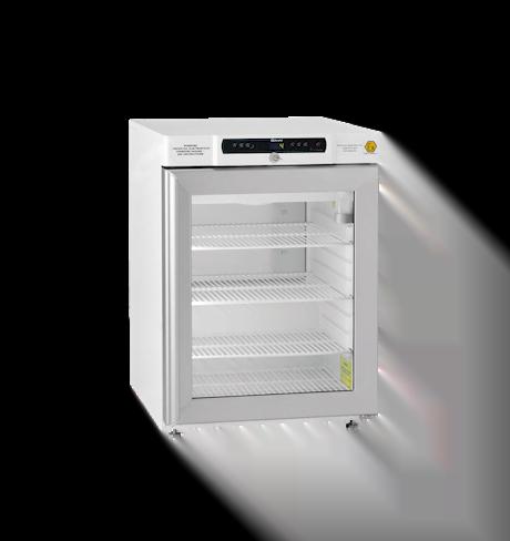 Explosionsgeschützter Laborkühlschrank BioBasic RR210L von Gram mit geschlossener Glastüre und Ansicht von der Seite