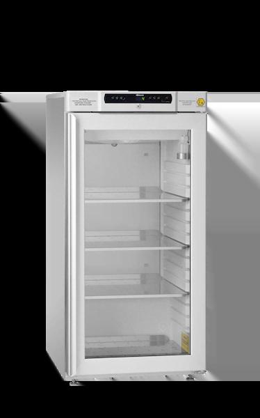 Explosionsgeschützter Laborkühlschrank BioBasic RR310L von Gram mit geschlossener Glastüre und Ansicht von der Seite