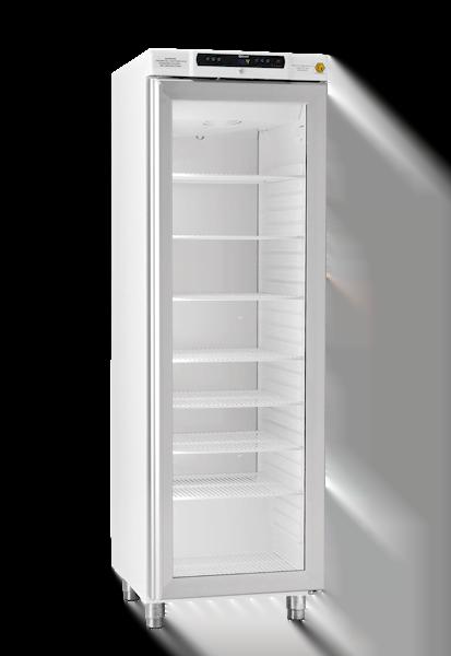 Explosionsgeschützter Laborkühlschrank BioBasic RR410L von Gram mit geschlossener Glastüre und Ansicht von der Seite