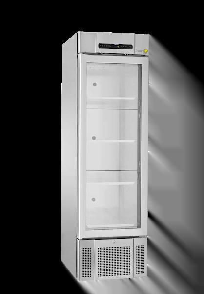 Explosionsgeschützter Laborkühlschrank BioMidi RR 425 von Gram mit geschlossener Glastüre und Ansicht von der Seite
