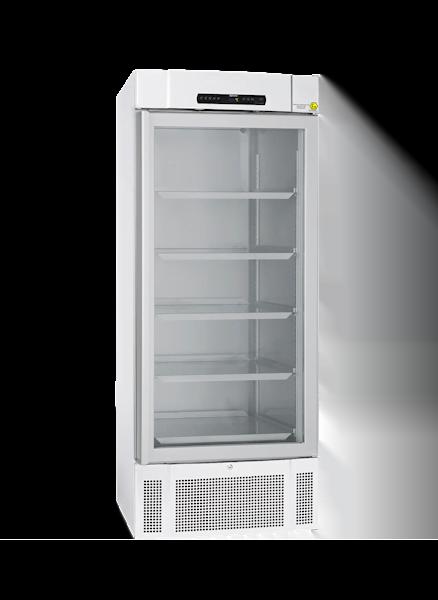 Explosionsgeschützter Laborkühlschrank BioMidi RR 625 von Gram mit geschlossener Glastüre und Ansicht von der Seite