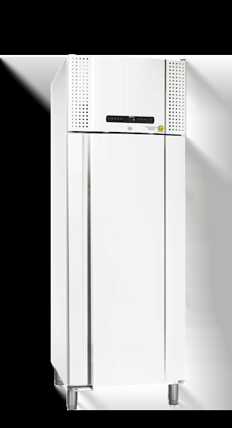 Explosionsgeschützter Laborkühlschrank BioPlus ER600D von Gram mit geschlossener Standardtüre und Ansicht von der Seite
