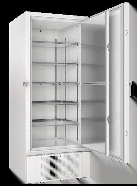 Labor Ultratiefkühlschrank BioUltra UL570 von Gram mit offener Standardtüre und Ansicht von der Seite