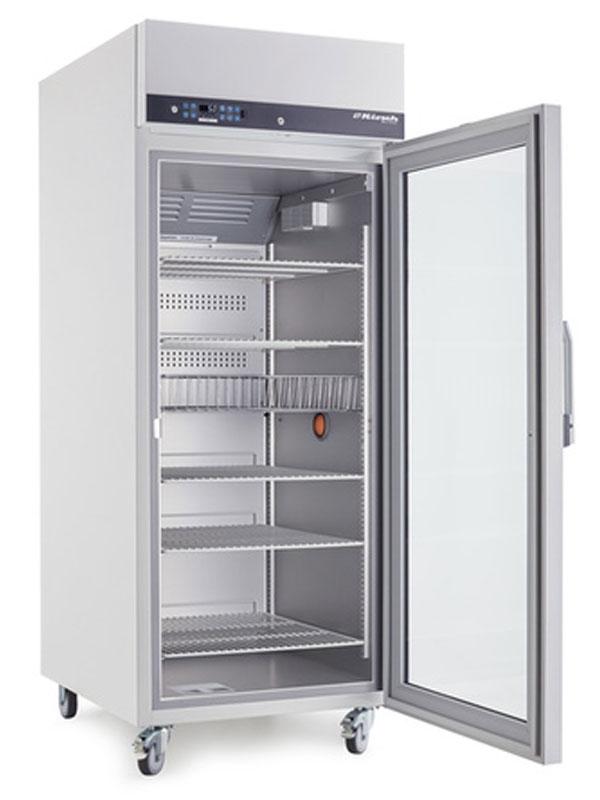 Laborkühlschrank LABO-720-CHROMAT von Kirsch mit offener Standardtüre und Ansicht von der Seite