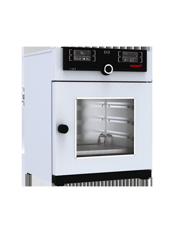 Vakuumschrank VO49cool von Memmert mit geschlossener Standardtüre und Ansicht von der Seite