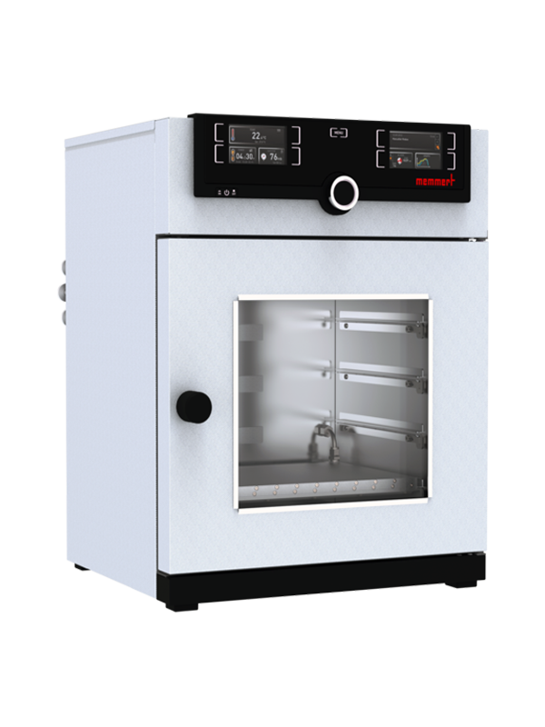 Vakuumschrank VO29cool von Memmert mit geschlossener Standardtüre und Ansicht von der Seite