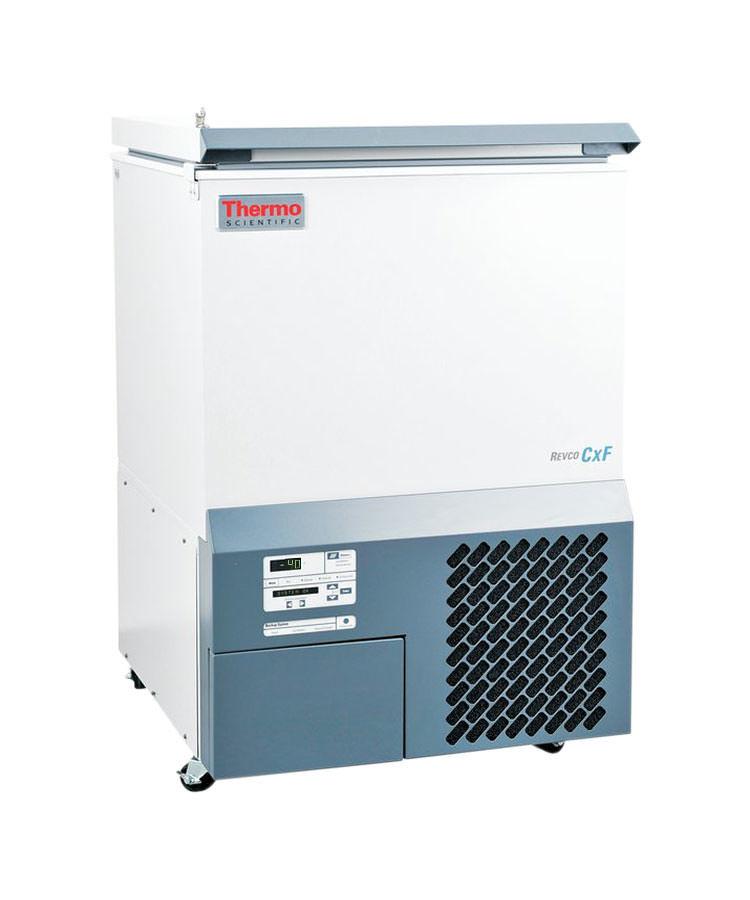 Labor Tiefkühltruhe ULT350-10-V von Thermo Scientific REVCO mit geschlossenem Deckel und Ansicht von der Seite