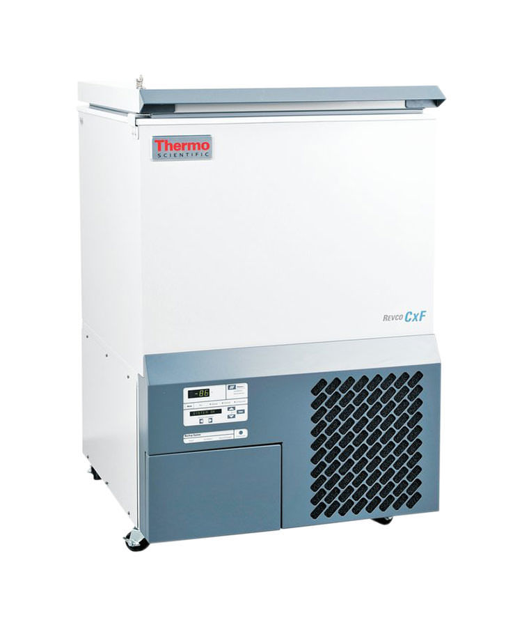 Labor Ultratiefkühltruhe ULT390-10-V von Thermo Scientific REVCO mit geschlossenem Deckel und Ansicht der Seite