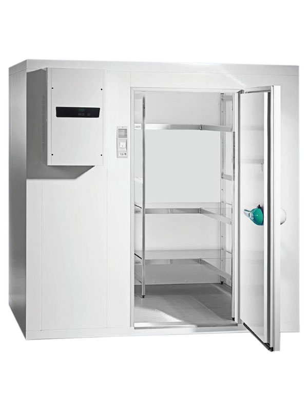 Tiefkühlzelle TectoCell Standard Plus ClassicEdition 100 Paket 5 2400 x 2100 x 2450 von Viessmann mit offener Standardtüre und Ansicht von der Seite